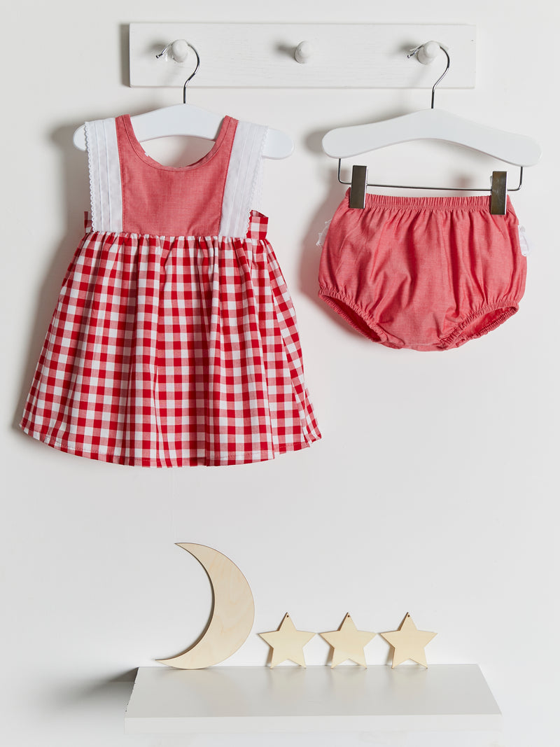 Calamaro Gingham Dress & Knicker Set - Rose & Albert