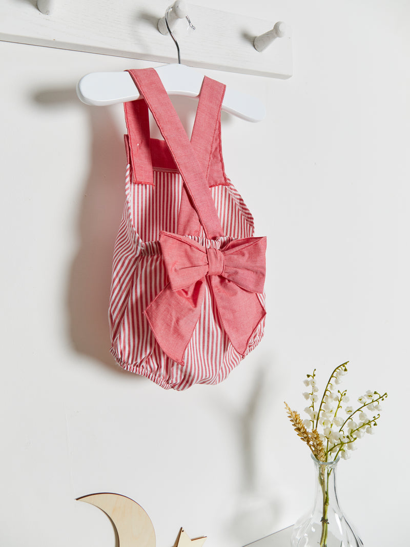 Calamaro bow stripe romper - Rose & Albert