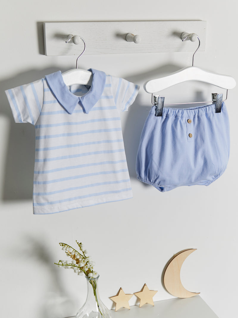 Babidu peter pan collar 2 piece stripe set - Rose & Albert
