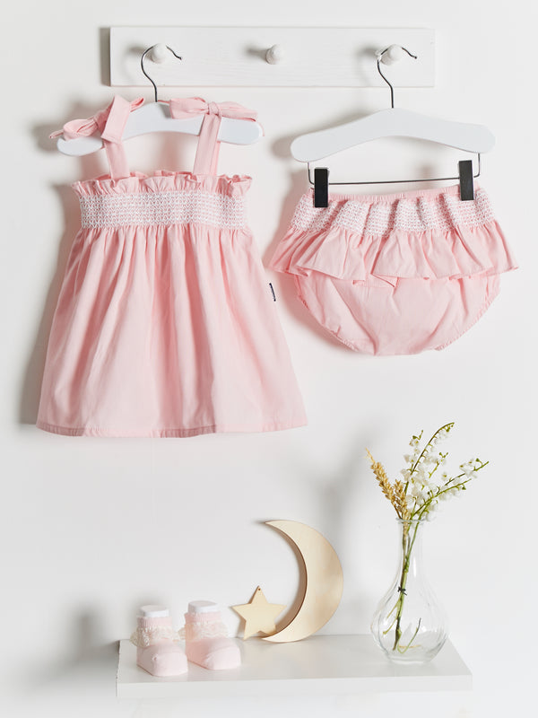 Strappy dress with shirring & frill knickers - Rose & Albert