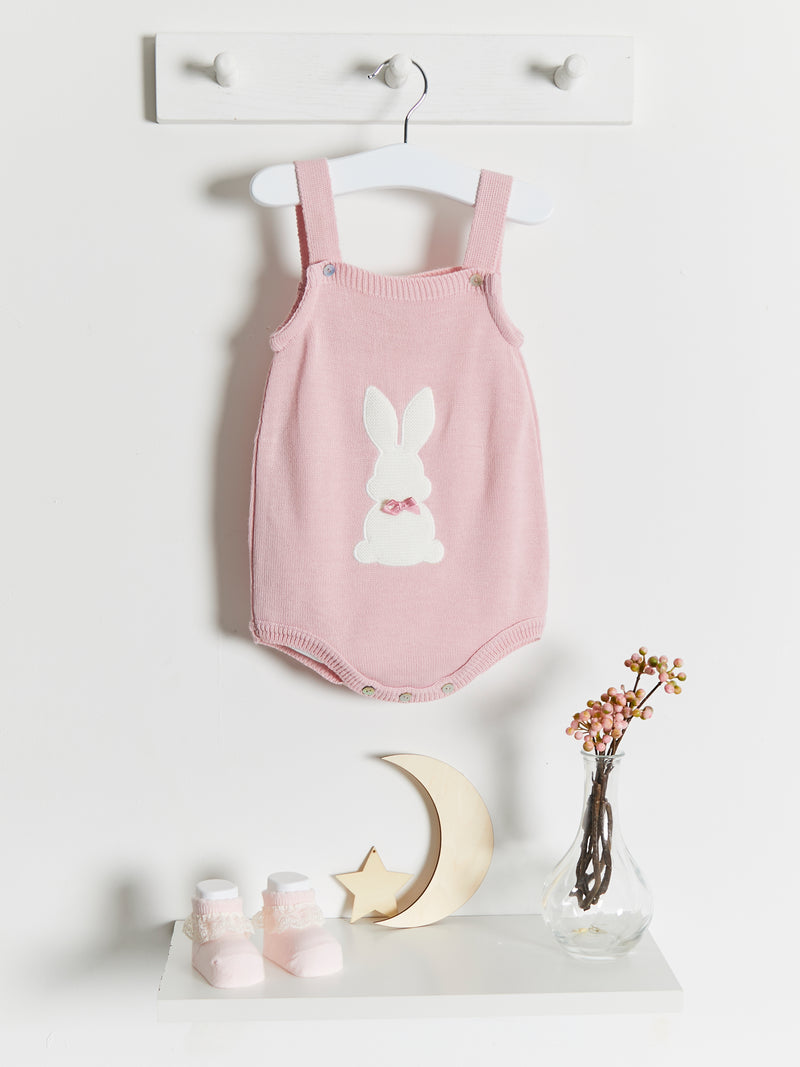 SS21 Dandelion Bunny Knitted Romper - pink