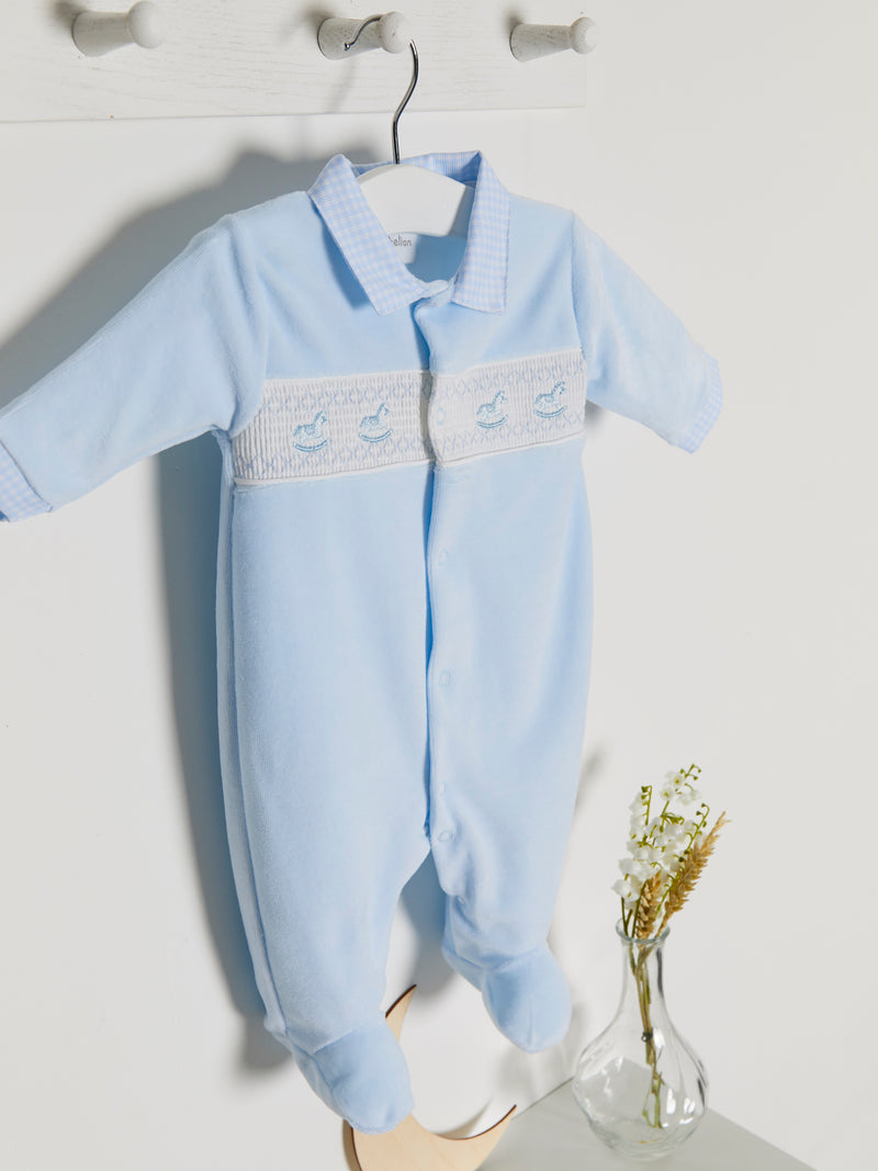 Dandelion smocked velour sleepsuit - Rose & Albert