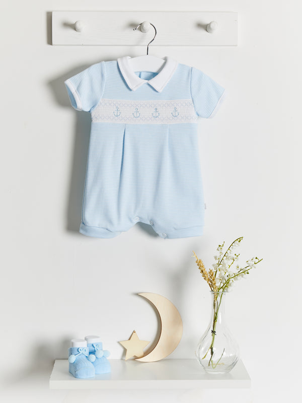 Dandelion Smocked Anchor Romper - Rose & Albert