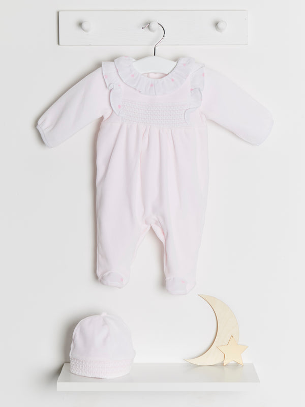 Coco collection smocked velour sleepsuit & hat - Rose & Albert