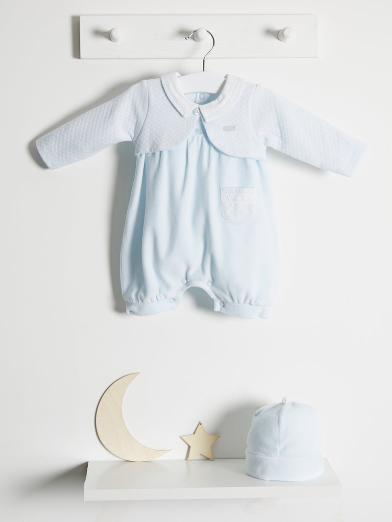 Coco Collection Velour Romper & Hat - Rose & Albert