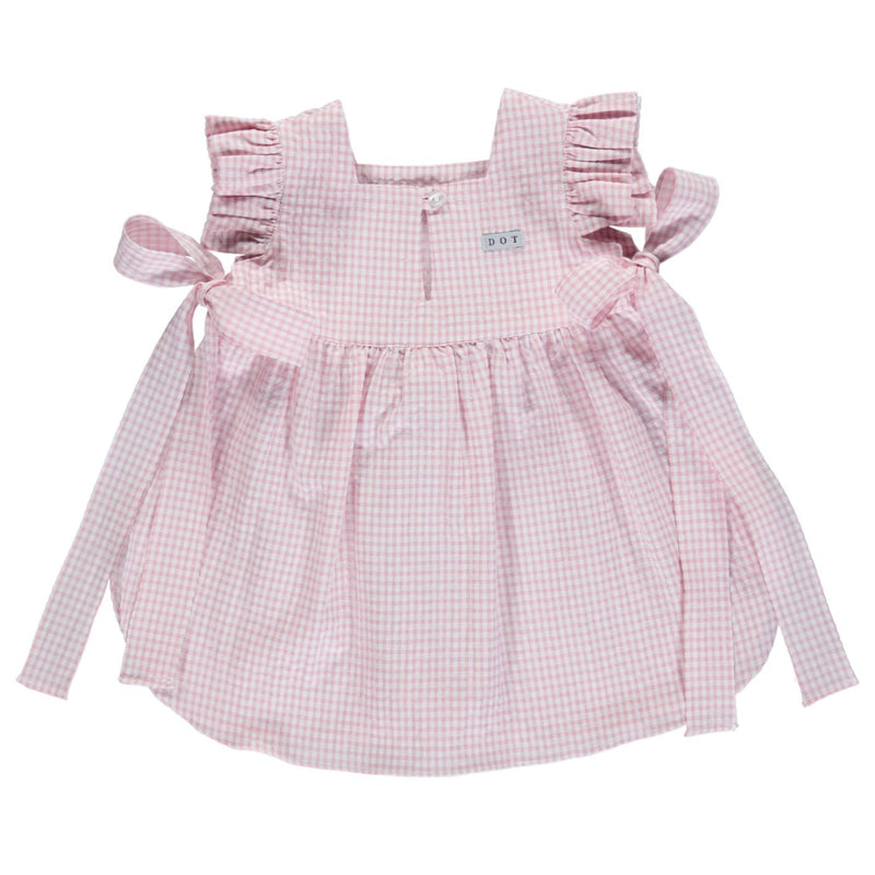 SS21 DOT Baby Checked beach cover up - pink
