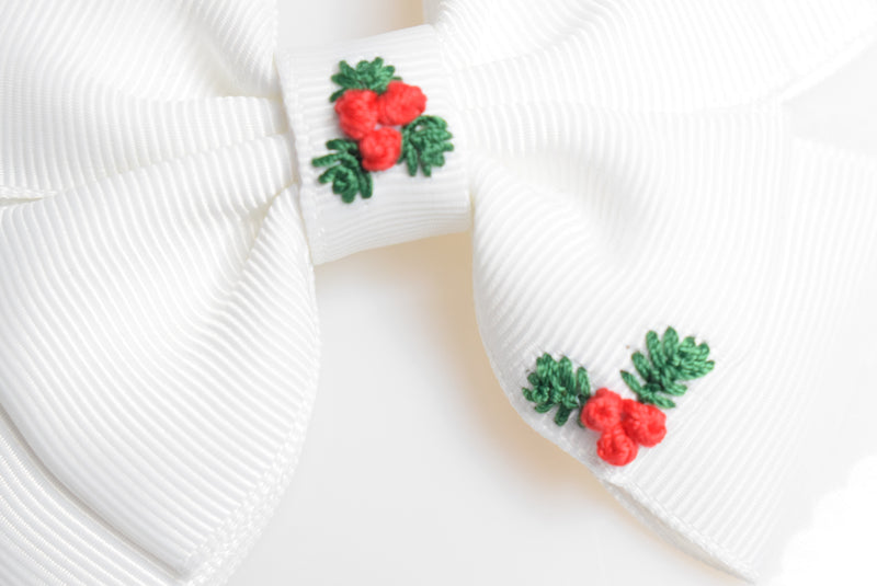 Bloom & Bow Embroidered Christmas Bow, white - Pre Order