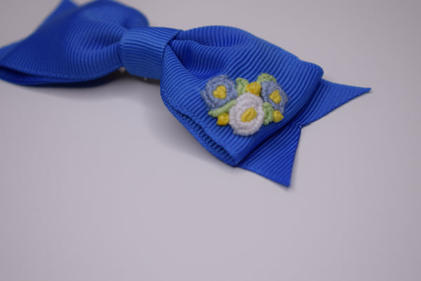 The Little Bow Emporium embroidered hair bow - royal blue (PRE ORDER) - Rose & Albert