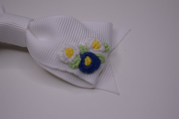 The Little Bow Emporium embroidered hair bow - white (PRE ORDER) - Rose & Albert