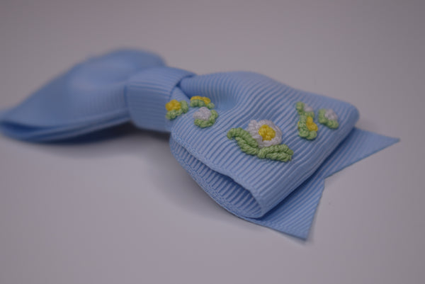 The Little Bow Emporium embroidered hair bow - cornflower blue (PRE ORDER) - Rose & Albert