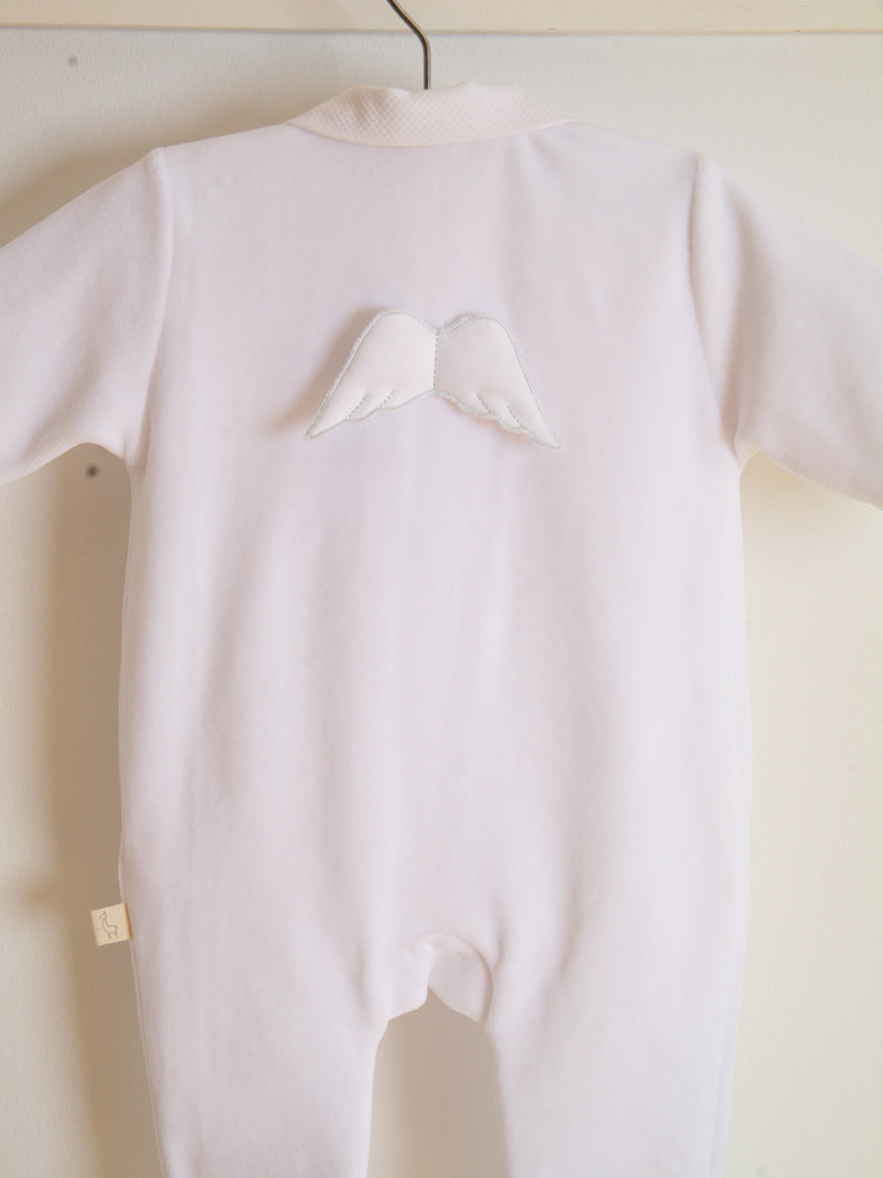 SS21 BabyGi Angel wing cotton sleepsuit - white