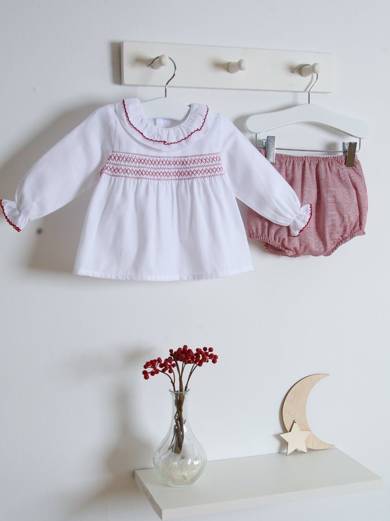 Babidu checked smocked jam pant set