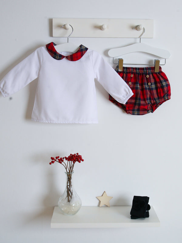 Babidu tartan peter pan collar jam pant set