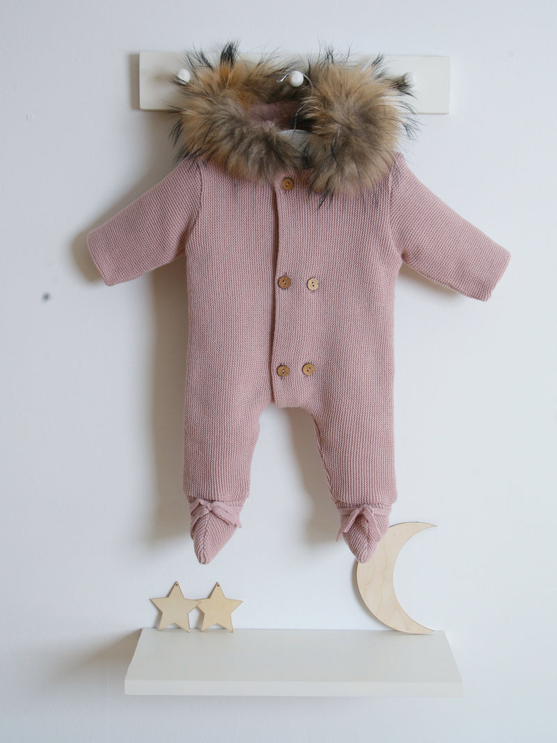 Mebi Fur Knitted Pram Suit Pink