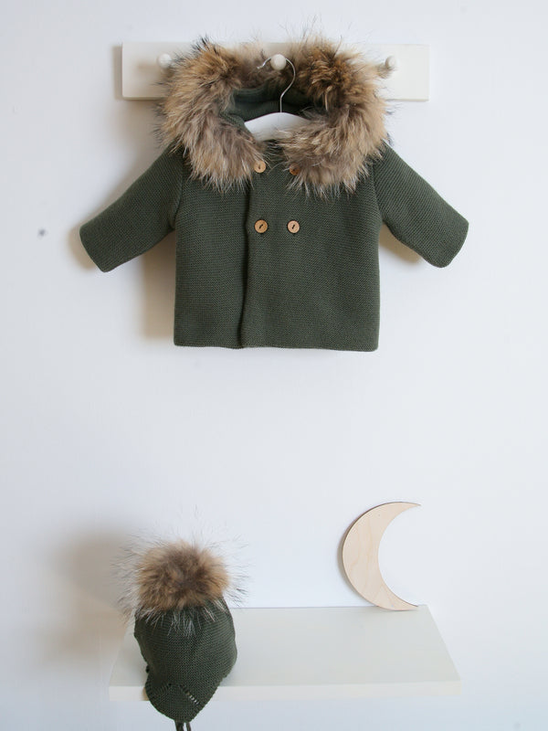 Mebi fur knitted cardigan - green