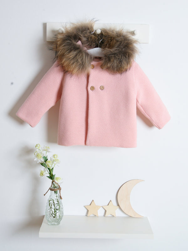 Mebi fur collar knitted cardigan - pink