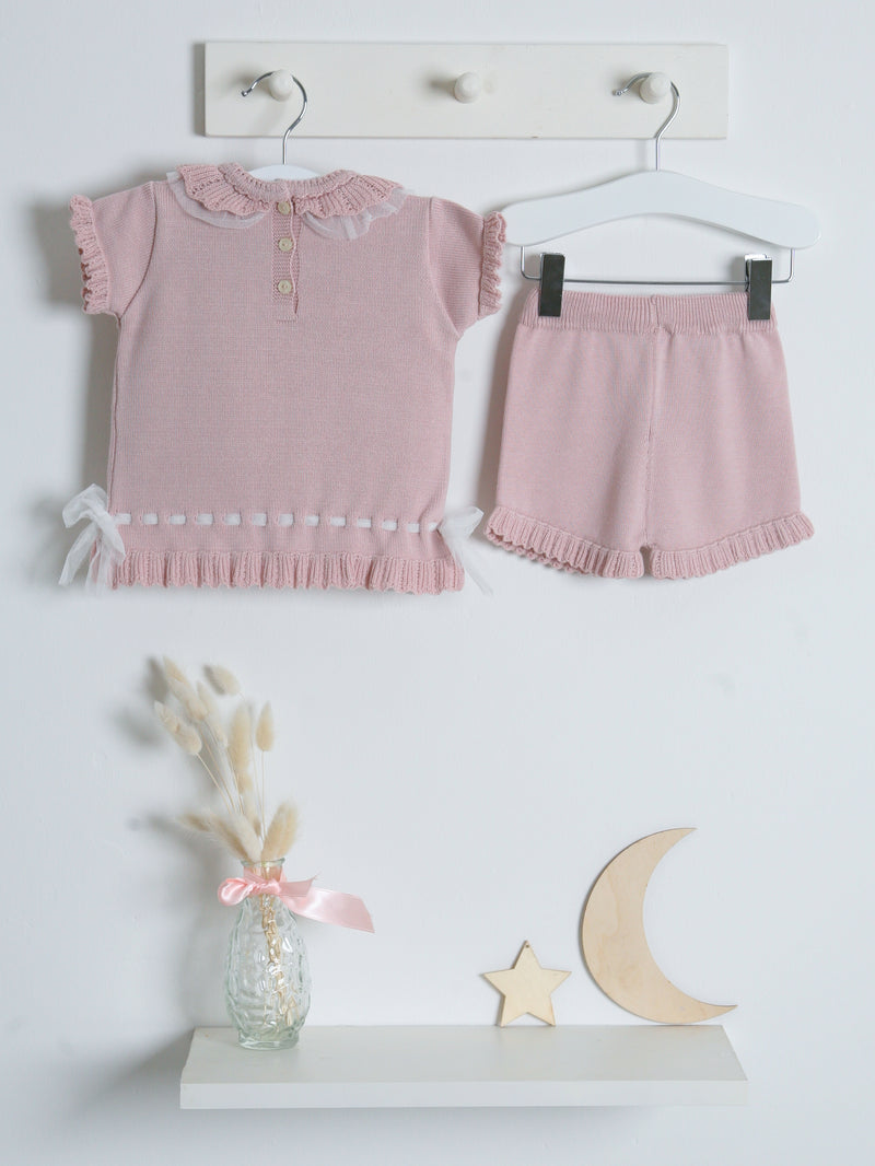 SS21 Granlei tulle knitted short suit - dusky pink