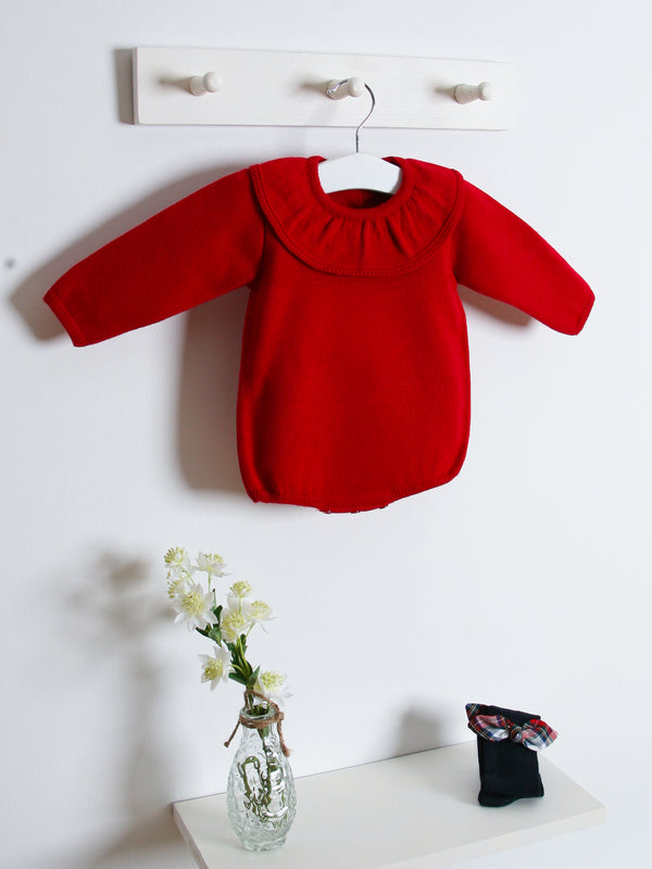 Granlei frill collar knitted romper - red