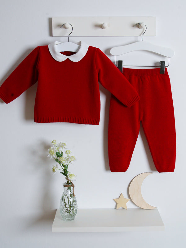 Granlei Peter Pan Collar Knitted Suit - Red