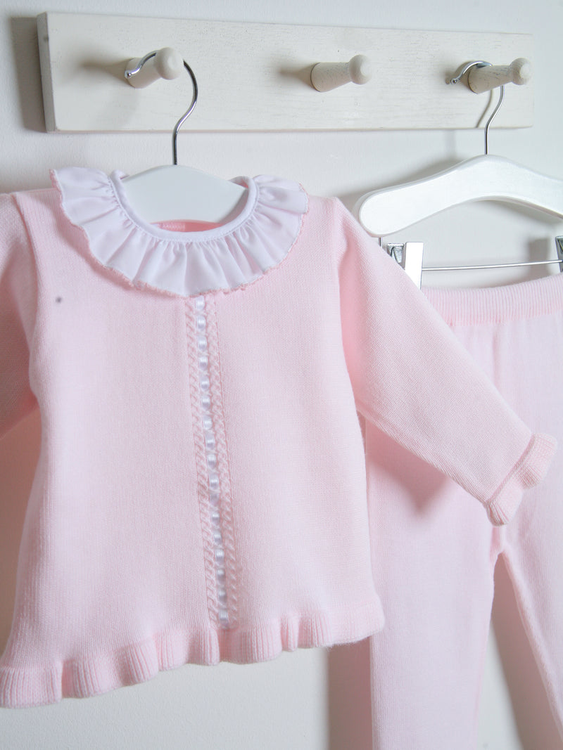 Granlei Frill Collar Knitted Set - Pink