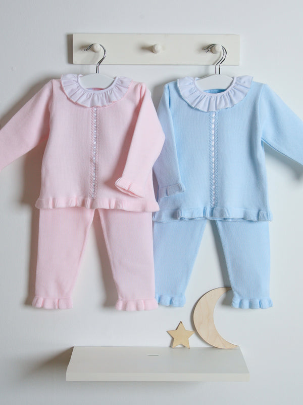 Granlei Frill Collar Knitted Set - blue
