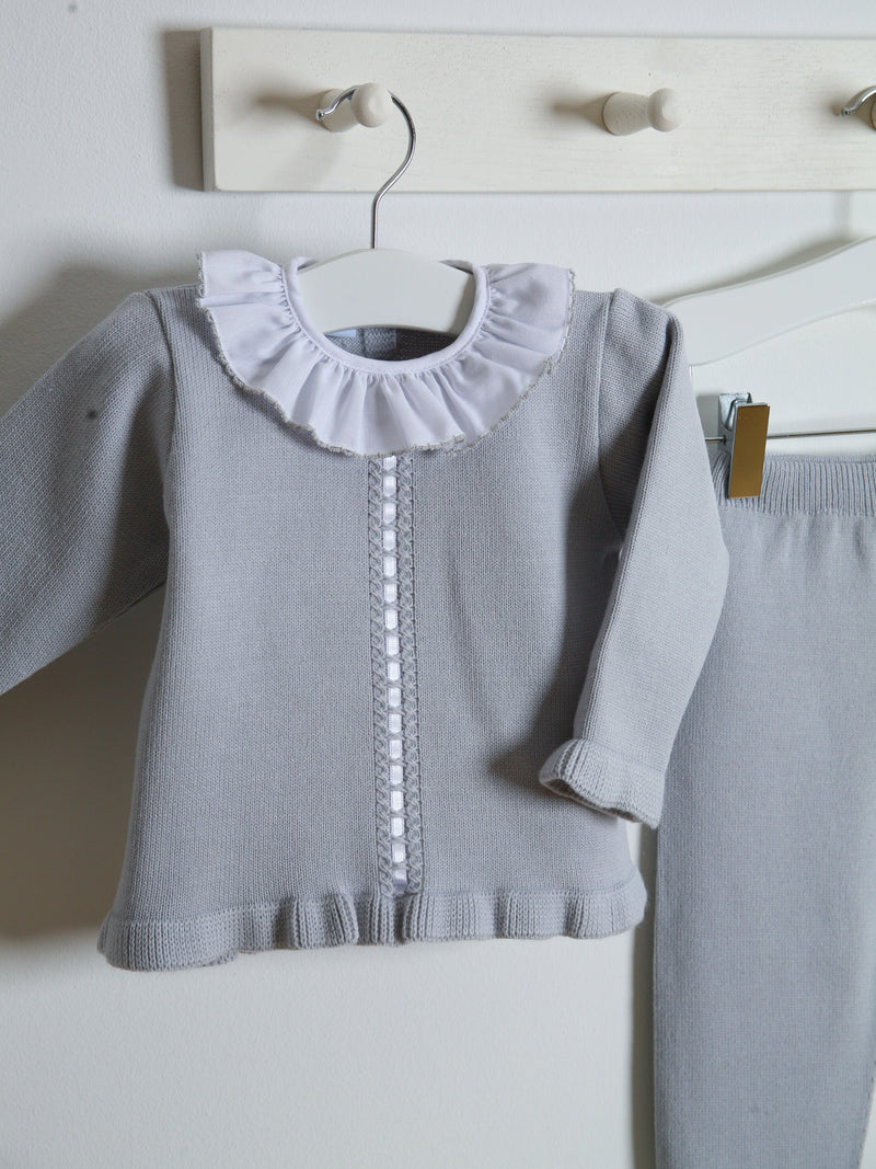 Granlei Frill Collar Knitted Set - grey