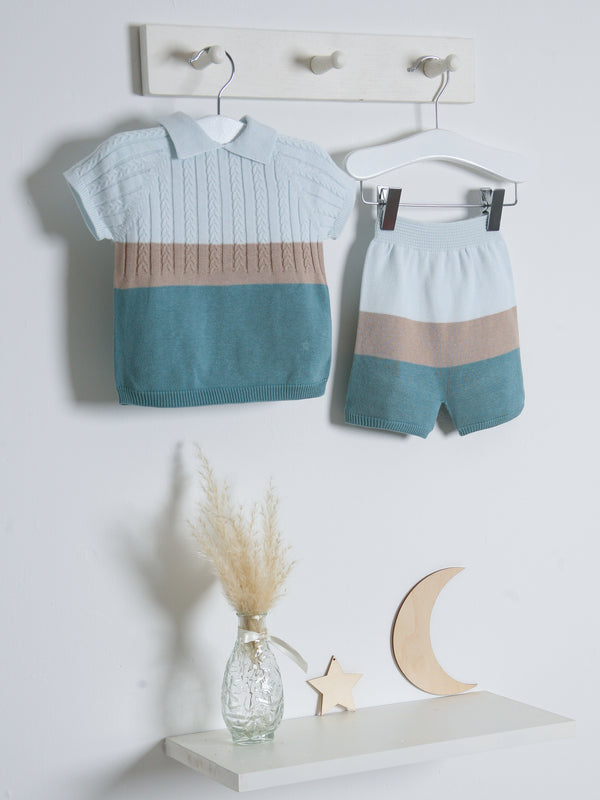 SS21 Wedoble Teal Stripe Knitted short set