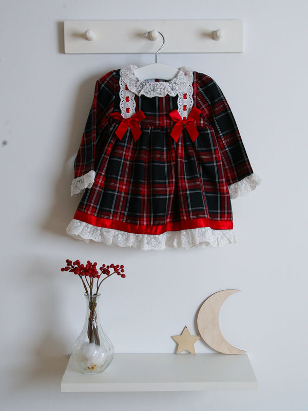 Caramelo kids tartan & lace dress