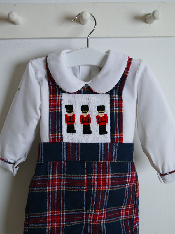 Caramelo Kids Tartan Smocked Dungaree Set