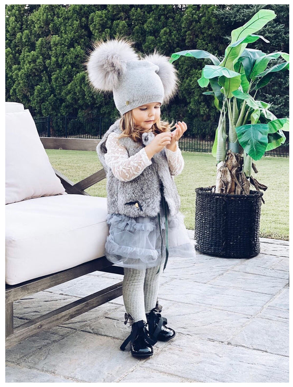 Petit Maison Kids Angora wool double pom hat - Rose & Albert