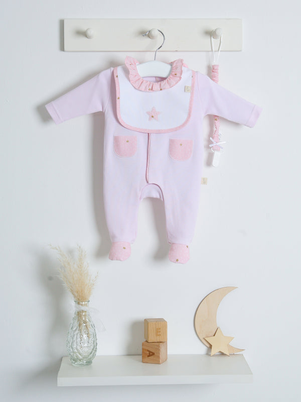 SS21 Babygi Dreams Pink Frill Collar Sleepsuit