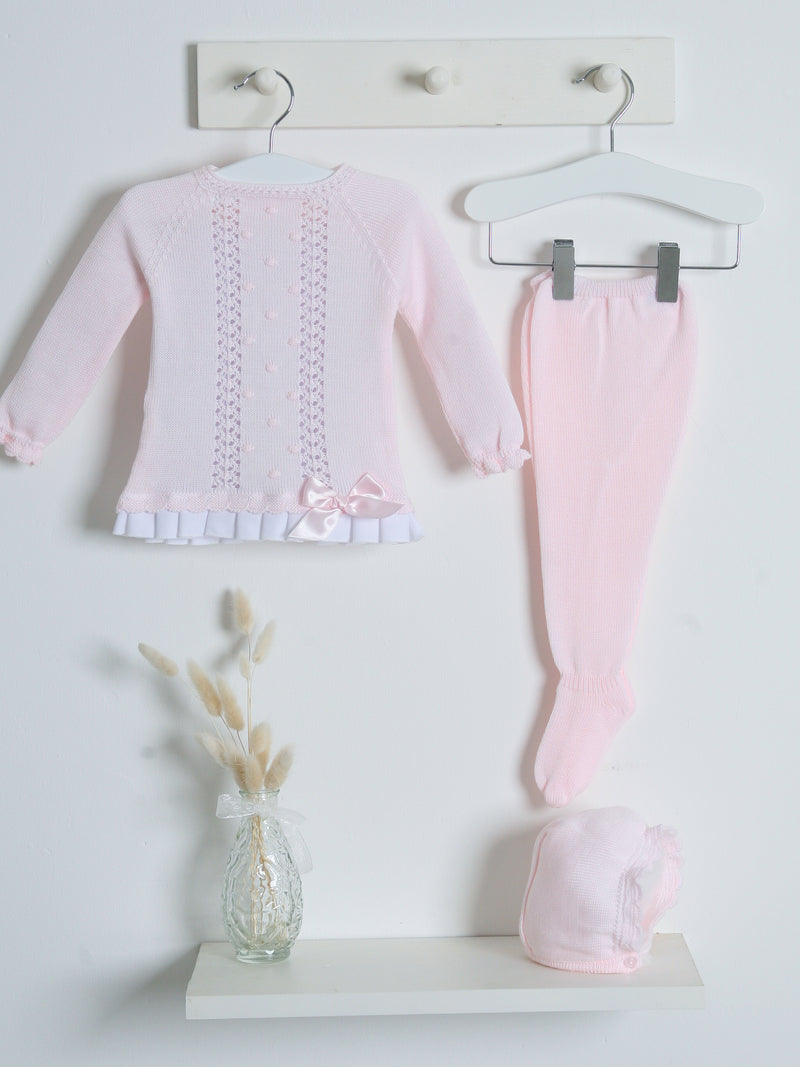 SS21 Juliana 3 piece knitted set with woven hem - pink