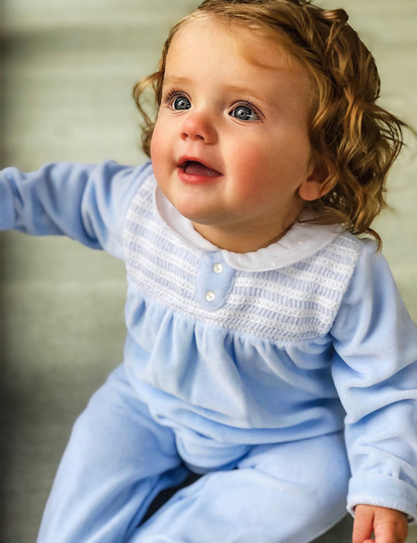 Babidu peter pan collar velour sleepsuit