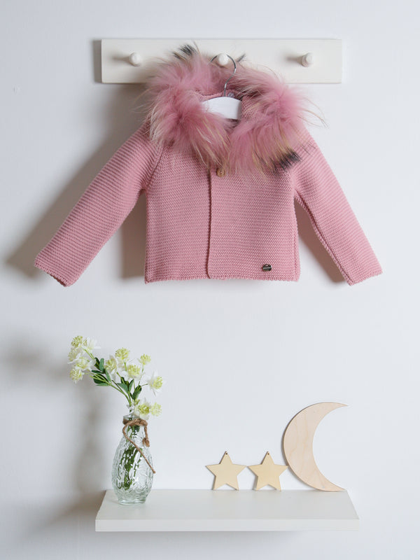 Juliana Faux Fur Knitted Cardigan pink