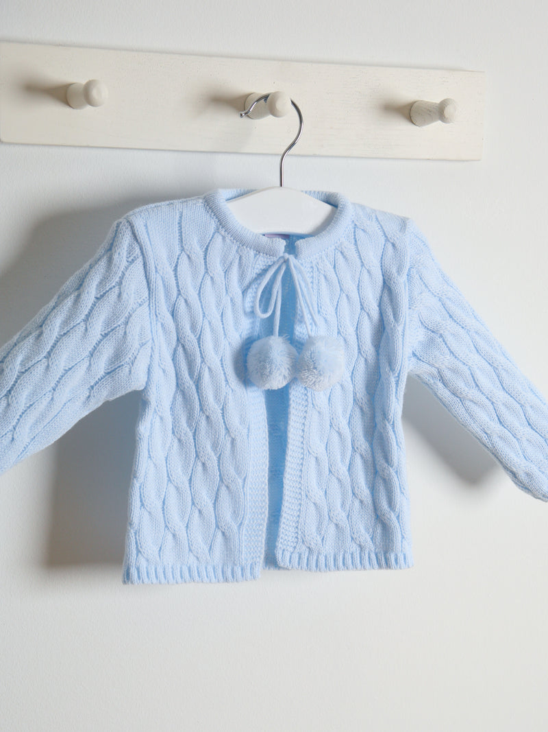 Juliana pom pom cardigan - blue