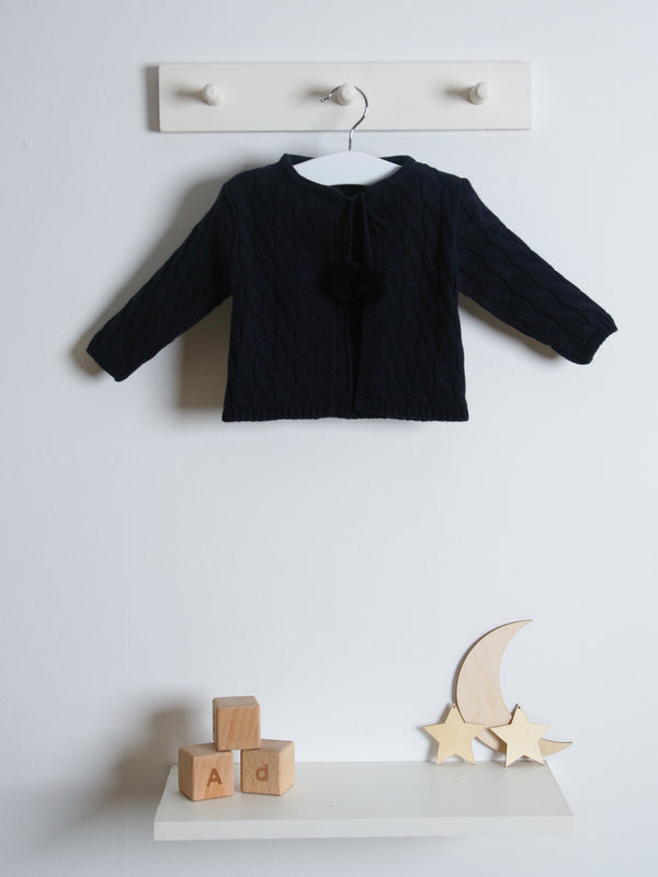 Juliana pom pom cardigan - navy