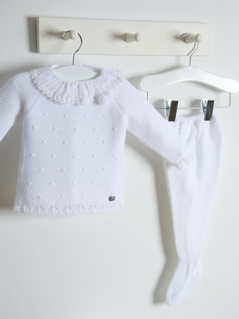 Juliana Frill Collar Knitted 3 piece set - white