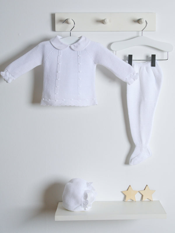 Juliana 3 pc knitted baby set - white