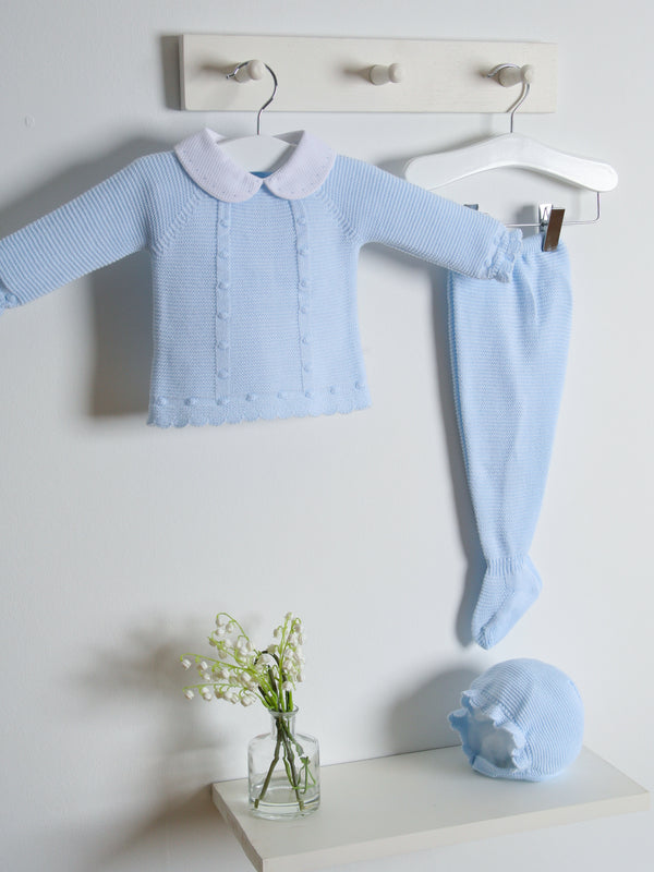 Juliana 3 pc knitted baby set - blue