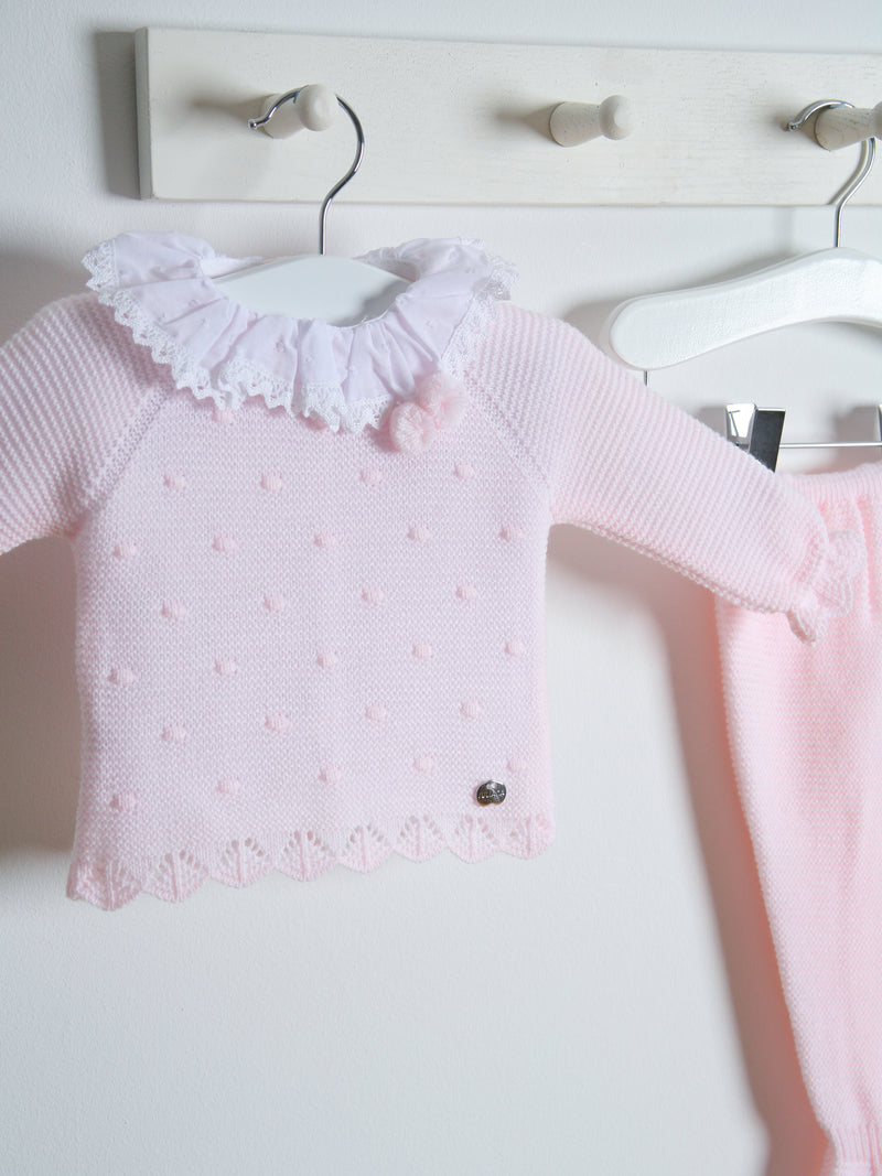 Juliana Frill Collar Knitted 3 piece set - pink