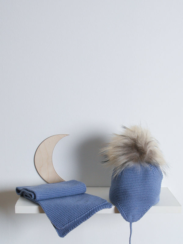 Juliana Faux Fur Hat & Scarf Set - Blue
