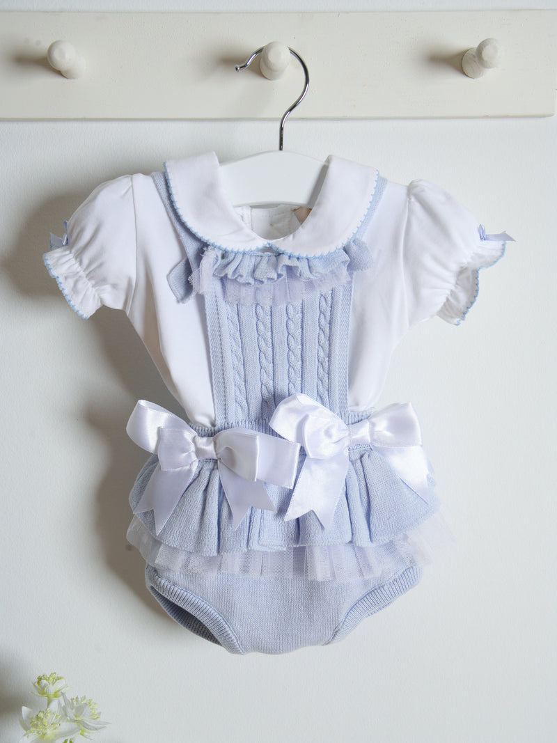 SS21 Caramelo Kids Knitted ruffle romper set - sky blue