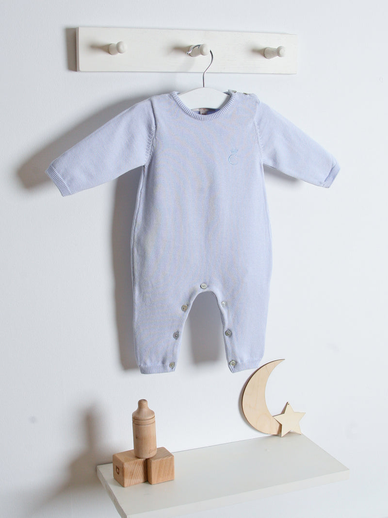 SS21 Caramelo Kids Embroidered Romper - Sky Blue