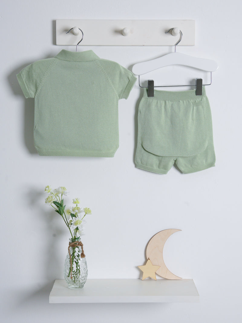Wedoble polo knitted short set - green