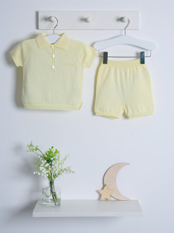 Wedoble polo knitted short set - yellow