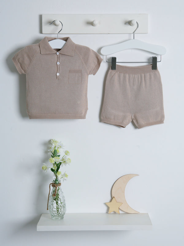 Wedoble polo knitted short set - beige