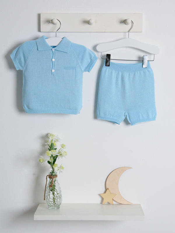 Wedoble polo knitted short set - blue