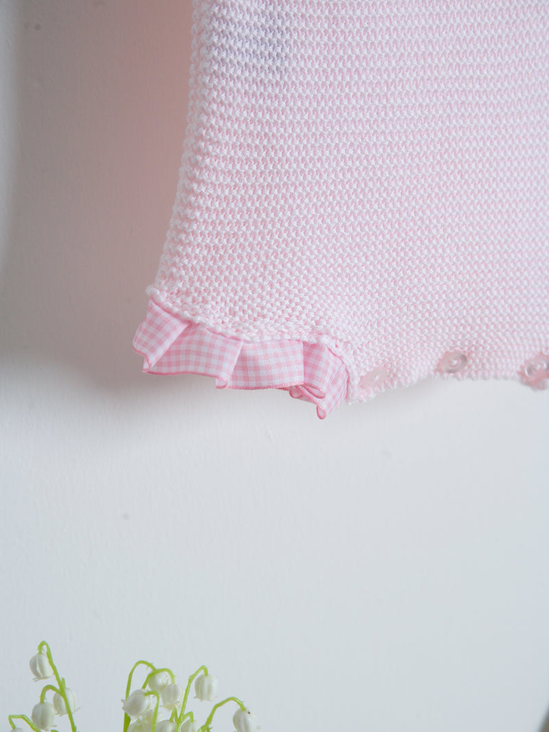 SS21 Juliana Knitted romper with gingham trim
