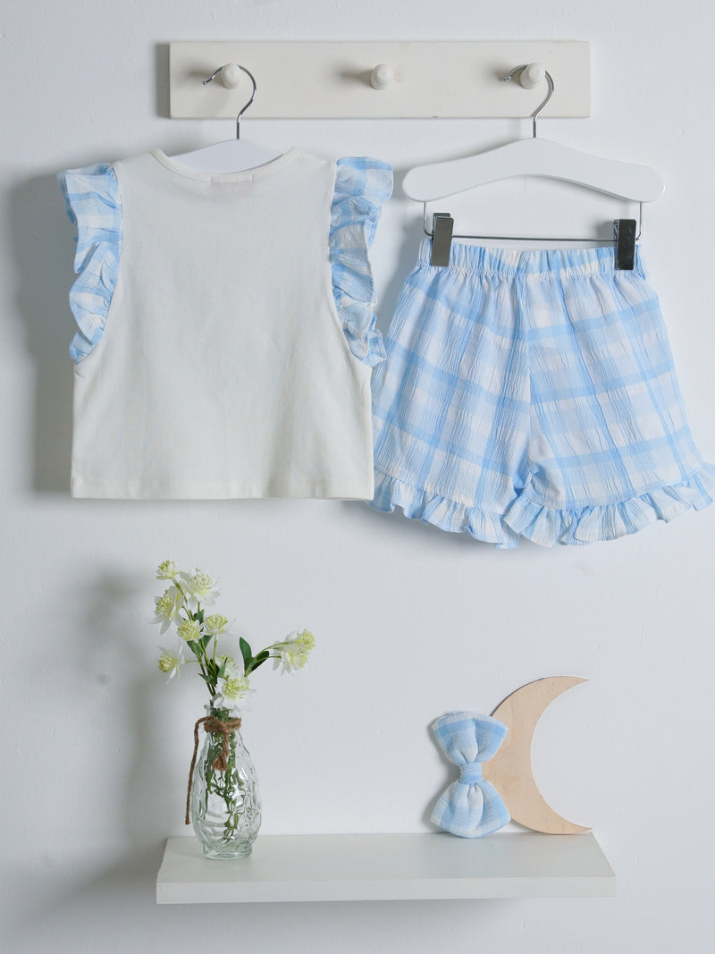 SS21 Caramelo Kids gingham short set - blue