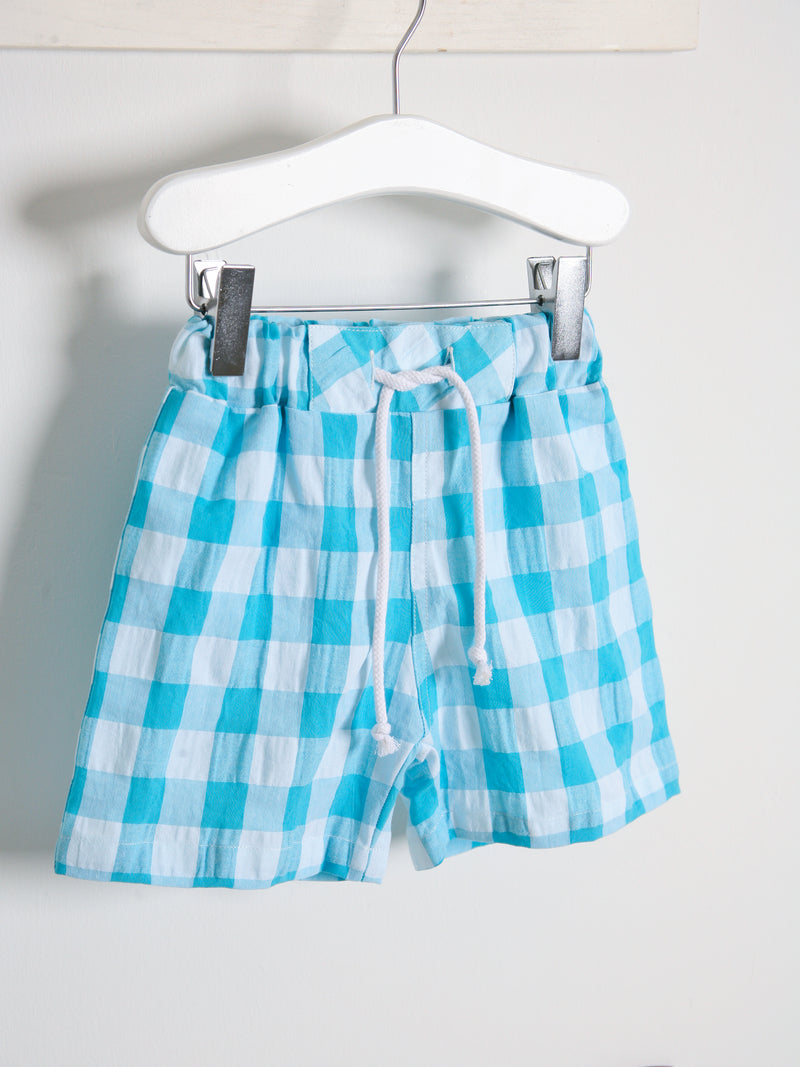 SS21 DOT Baby Check Swimshorts - turquoise